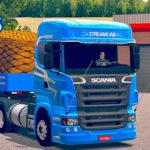 Skins Scania R 620 Azul Com Pintura Especial + Carreta 2 Eixos