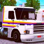 Skins Scania 113 Com Faixas Originas Laranja