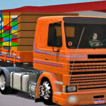 Skins Scania 113 Frontal Na Carretinha 2 Eixos Conjunto Laranja