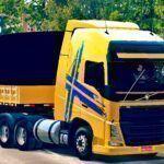 Skins Volvo FH Amarelo Com Faixas No Bitrem
