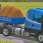Skins Scania G124 Azul Com Faixas Decorativa Na Carretinha 2 Eixos