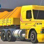 Skins Scania 113 Amarela Com Faixas na Carretinha 2 Eixos