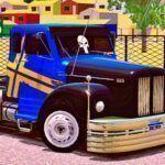 Skins Scania 111 Azul Com Faixas Personalizadas e CAPO PRETO