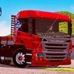 Skins Scania P310 Vermelha Truck 'QUALIFICADA COM LOGO GRIFIN SCANIA'