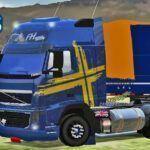 Skins Volvo FH Azul Com Faixas 'QUALIFICADO'