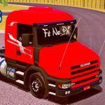 Skins Scania G124 Vermelha Com Faixas Personalizada