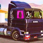 Skins Scania 113 Frontal Preta 'Com Logo Griffin e Vidros Qualificados'