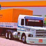 Skins Scania 142H Branca Com Faixas Originais No Bitrem
