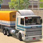Skins Scania 113 Frontal Branca com faixa AzuL Original na Carreta Graneleira