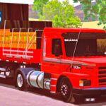 Skins Scania 113 Vermelho Com Faixa Cinza na Carretinha Qualificada 2 EIXOS