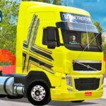 Skins Volvo FH Amarelo Com Faixas Personalizadas e Rodas Cromadas