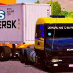 Skins Scania G124 Amarela Com Faixas e Capo Preto na Carreta Container