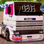 Skins Scania 113 Frontal Branca 'QUALIFICADA COM VIDROS ROSA'