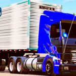 Skins Scania 113 Frontal Azul Grafitada no Bau Top Todo Cromado