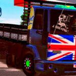 Skins Ford Cargo Preto 'VERDUREIRO QUALIFICADO' Frente Personalizada com Bandeira