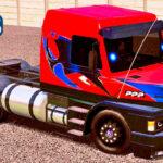 Skins Scania 113 Vermelha Grafitada no Bau Personalizado