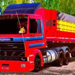 Skins Scania 113 Frontal Vermelha Com Faixas AZUL no Rodotrem 9 Eixos
