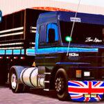 Skins Scania 113 Preta na Graneleira  Com Faixas Azul