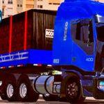 Skins Iveco Azul Com Frente Preta na Carreta 2 Eixos