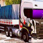 Skins Scania S Branca Toda Grafitada na Carreta 2 Eixos