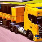 Skins Scania S Amarela na Carreta Bitrem Basculante Com Carga de Pedras