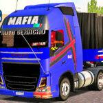 Skins Volvo FH Azul Com Faixa em Vermelho Carreta BITRENZAO