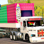 Skins Scania 113 Toda Branca Personalizada na graneleira e carga de CAIXAS