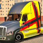 Skins Freightliner Amarelo Com Capo Preto e Faixa Personalizada em Vermelho