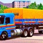 Skins Scania 113 Azul Clássica Faixas em Laranja na Granel e Roda de calota 3 Pontas