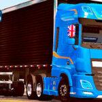 Skins Daf Xf azul Com Fixas Originais na Carreta Bau 'MAIS TOP'