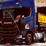 Skins Scania S Black na Carretinha 2 Eixos WF FRUTAS 'QUALIFICADO'