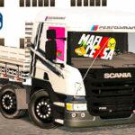 Skins Scania Pzinha Branca Verdureiro Com Faixas e Adesivos PERFORMANCE