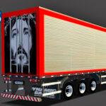 Skins Reboque Bau Cromado Com Detalhes em Vermelho e Tampa Traseira 'PINTURA JESUS'