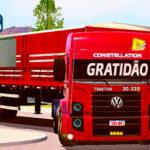 Skins VW Constellation Vermelho Na Carreta Graneleira Tampa Alta Com Lona
