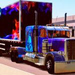 Skins Caminhão Americano Peterbilt Com Pintura Especial Caveira e Chamas
