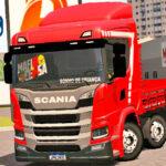 Skins Scania P320 VERMELHA Com Faixa Personalizada 'NO ESTILO VERDUREIRO'