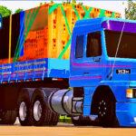 Skins Scania 113 Azul Clássico no Bitrem Carregado de Tijolos 'CARGA EXCLUSIVA'