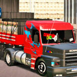 Skins Scania 113 Vermelha Grafitada Com Capo Preto e Carga de Repolho na Carretinha