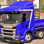 Skins Scania P320 Azul Com Faixa Personalizada 'NO ESTILO VERDUREIRO'
