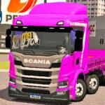 Skins Scania P320 Rosa Com Faixa Personalizada 'NO ESTILO VERDUREIRO'