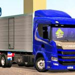 Skins Scania P320 Azul no Bau Com Faixa Personalizada