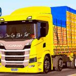 Skins Scania P320 Amarela 'NO ESTILO VERDUREIRO QUALIFICADO'