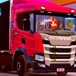 Skins Scania P320 Vermelha no Bau Preto Com Logo Scania Griffin