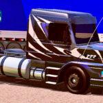 Skins Scania 113 Preta Grafitada No Bau Com Rodas Pretas