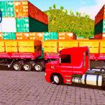 Skins Scania 113 Vermelha Com Faixas Clássicas No Rodotrem Carregado de Madeiras