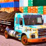 Skins Scania 113 Azul Ja com a Pintura Bem Velha 'REALISTA' Na Carretinha 2 Eixos