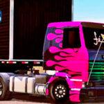 Skins Scania 113 Frontal Rosa Com Chamas e Grade Qualificada Reggae no Bau