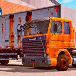 Skins Scania 113 Frontal Laranja no Bau 'CONJUNTO COM PINTURA VELHA'