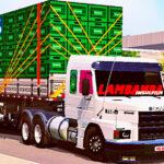Skins Scania 113 Branca na Carreta Carregado de Caixas 'QUALIFICADO'