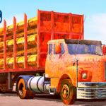 Skins Scania 111 Antigao Com Pintura Laranja Toda Enferrujada Na Carreta Florestal